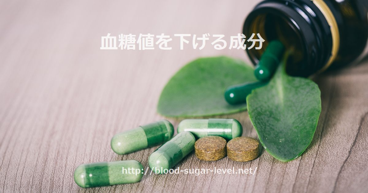 血糖値を下げる成分。葉っぱと錠剤。
